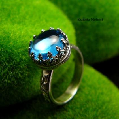 Pierścień Elf - Topaz Swiss Blue Srebro