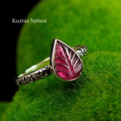 Pierścień ze Srebra - Elfik z Turmalinem Różowym
