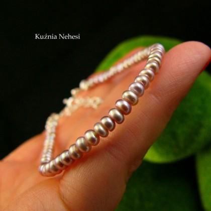 Bransoleta z naturalnymi Fioletowymi Perłami - Pearl - Srebro Perły