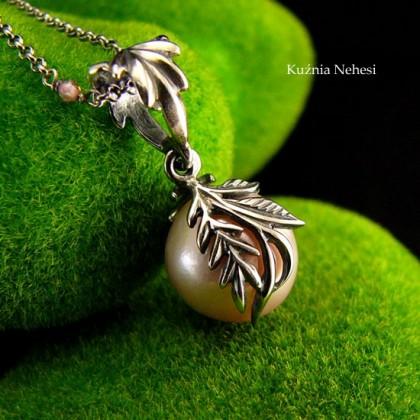 Naszyjnik z Fioletową Perłą Angel - Srebro Perła