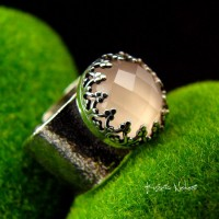 Pierścień Gaia – Kwarc Rose Srebro