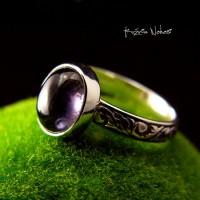 Pierścień Szafir Wodny - Iolit Srebro
