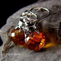 Kolczyki Sun - Cytryn Srebro