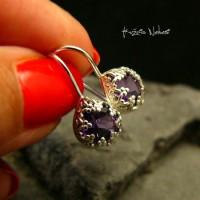 Kolczyki - Purple - Ametyst Srebro