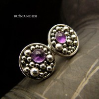 Kolczyki Purple Bubble - Ametyst Srebro