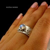 Pierścień Gaia – Moonstone Srebro