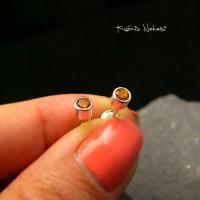 Kolczyki z Cytrynem Sztyfty  - Kropeczki - Srebro Cytryn