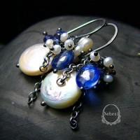 Kolczyki Navy Blue – Kianit Iolit Szafir Perły