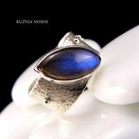 Pierścień Gaia - Labradoryt Srebro