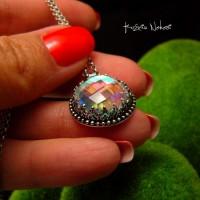 Naszyjnik Tęcza - Kwarc Rainbow Srebro