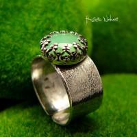 Pierścień Pasmai – Gaia - Chryzopraz Srebro