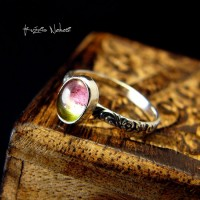 Pierścień ze Srebra - Elfik z Turmalinem Arbuzowym I