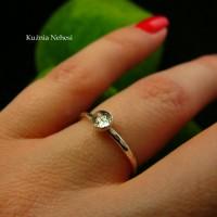 Pierścień Drobinek - Srebro Kwarc z Turmalinem