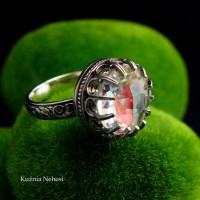 Pierścień Elf - Kwarc Tęczowy Srebro