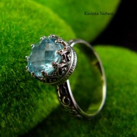 Pierścień Elf - Topaz Sky Blue Srebro