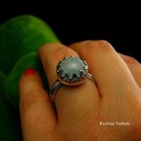 Pierścień Elf - Akwamaryn Srebro