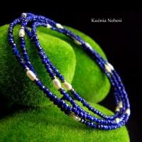 Długi naszyjnik Ink - Lapis Lazuli Perły Hematyt Srebro