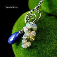 Zakładka do ksiązki - Gold Stars Heaven - Lapis Lazuli Opal Etiopski Srebro