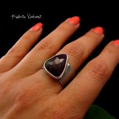 Pierścień Gaia - Rubin Srebro
