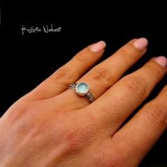 Pierścień Elf - Agat Srebro