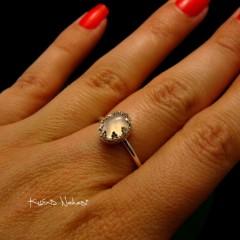 Pierścień - Rose Lea - Kwarc Rose Srebro