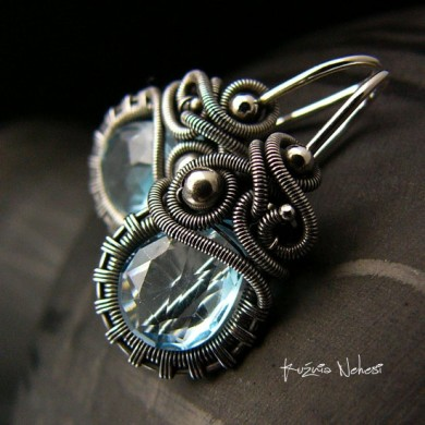 Kolczyki Dragony- Sky Blue Topaz Srebro