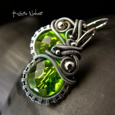 Kolczyki Dragony - Kwarc Zielony Srebro