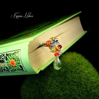 Zakładka do ksiązki – Srebro Prehnit Karneol