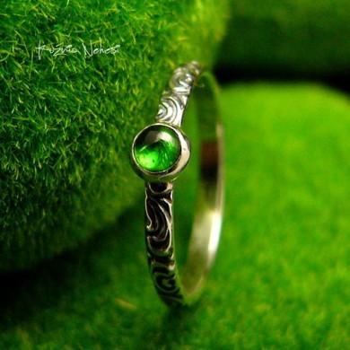 Pierścień ze Srebra - Elfik z Turmalinem Zielonym