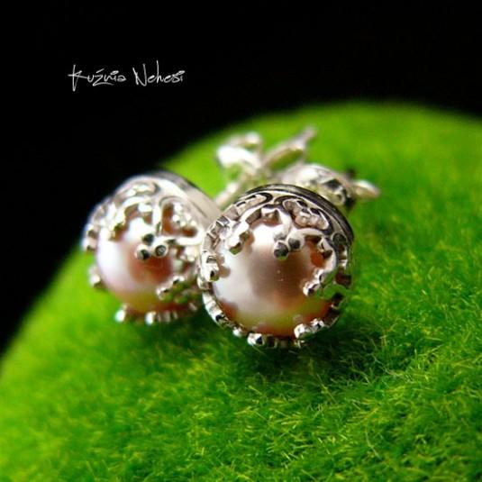 Kolczyki Drobiny - łososiowe Perły Srebro