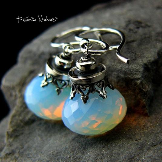 Kolczyki Milk - Opal Mleczny Srebro