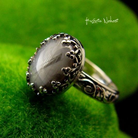 Pierścień ze Srebra - Elf z Szafirem Gwiaździstym