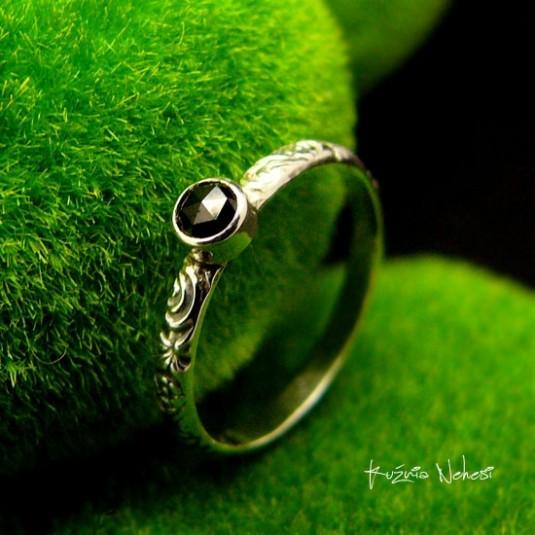 Pierścień ze Srebra - Elfik z czarnym Diamentem