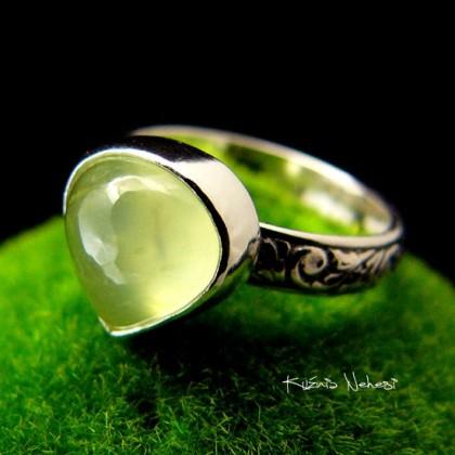 Pierścień Mięta - Prehnit Srebro