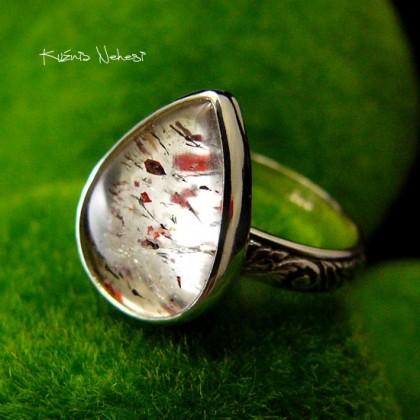 Pierścień ze Srebra - Elf z Kwarcem Turskawkowym