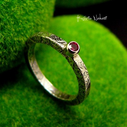 Pierścień ze Srebra - Elf z Turmalinem i Srebrem