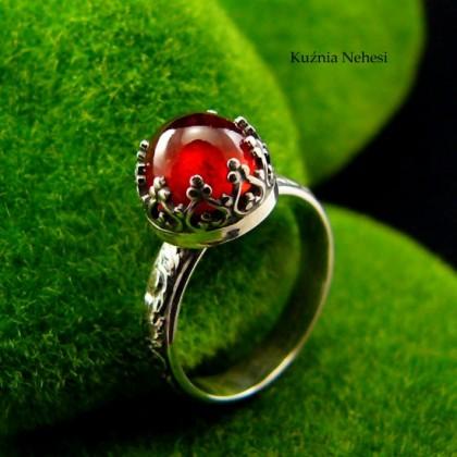 Pierścień Elf - Granat Spessartine Srebro