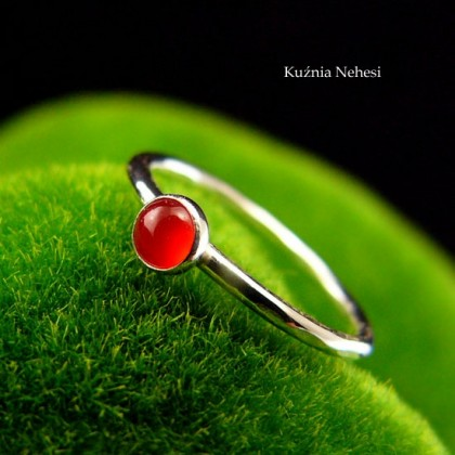 Pierścień Drobinek - Karneol Srebro 4mm