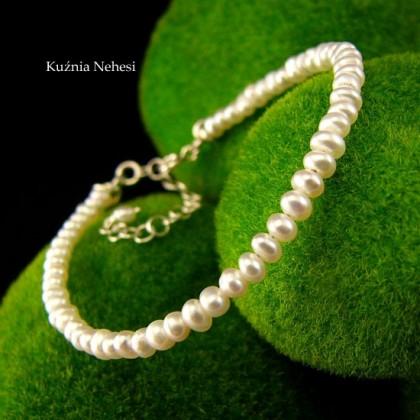 Bransoleta z naturalnymi  Białymi Perłami - Pearl - Srebro Perły