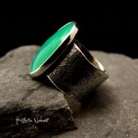 Pierścień Green – Chryzopraz Srebro