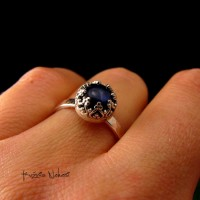 Pierścień Fire – Labradoryt Srebro