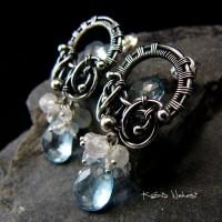 Kolczyki Dragons Blue – Topaz Moonstone Srebro