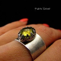 Pierścień Green – Gaia - Zielony Granat Srebro