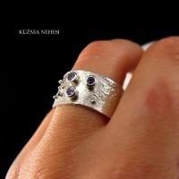 Pierścień Trio – Tanzanit Srebro