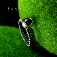 Pierścień Black Star – Srebro Diopsyd