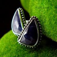 Kolczyki Wkrętki Sapphire - Szafir Srebro