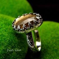 Pierścień ze Srebra - Elf z Kwarcem Dymnym