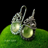 Kolczyki Dragony - Prehnit Zielony Srebro