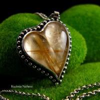 Naszyjnik Serce ze Złocistymi Włosami Wenus - Srebro Kwarc z Rutylem