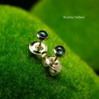 Kolczyki Kropeczki Sztyfty - Turmalin Blue Srebro